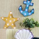 Glitzhome Vintage Marquee LED Lighted Scallop Sign Wall Decor