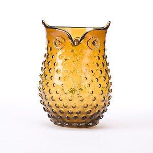 Glitzhome 9.84 Inch Handblown European Hobnail Owl Glass Vase , Amber