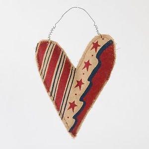 Glitzhome Burlap Heart Shaped Patriotic Door Hanger