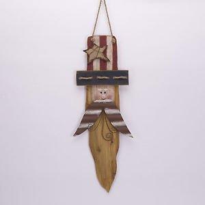 Glitzhome Rustic Patriotic Wall Decor Hanging Wooden Uncle Sam Head Sign