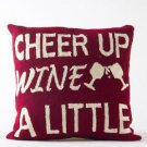 "Glitzhome Hooked Throw Pillow ""Cheer Up Wine"" Monogram"