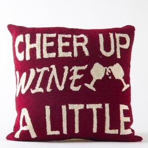"Glitzhome Hooked Throw Pillow ""Cheer Up Wine"" Monogram"