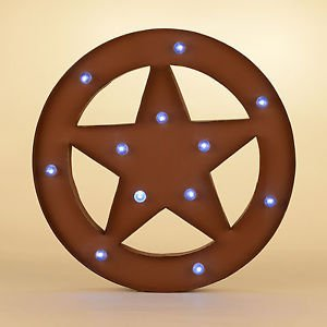 Glitzhome Marquee LED Lighted Western Star Sign Wall Decor Battery Operated