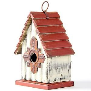 "Glitzhome 8.94""H Rustic Garden Distressed Wooden Birdhouse, Gambrel Roof"