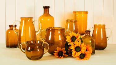 Glitzhome 8.27 inch Home Decor Bubble Glass Vase, Amber