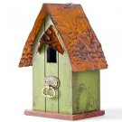 "Glitzhome 4.09""H Rustic Garden Distressed Wooden Birdhouse, Door Knocker Ring"