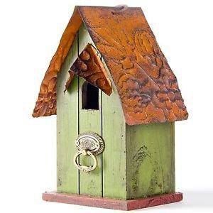 """Glitzhome 4.09""""H Rustic Garden Distressed Wooden Birdhouse, Door Knocker Ring"""