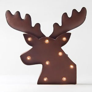 Glitzhome Rusty Marquee LED Lighted Reindeer Head Sign Wall Decor
