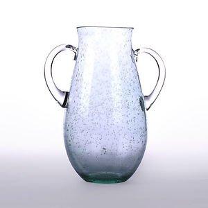 Glitzhome 11.81 Inch European Retro Two-handled Bubble Glass Vase, Green