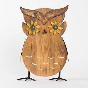 Glitzhome Garden Ornament Handcrafted Iron/Wooden Outdoor Decorative Owl
