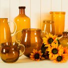 Glitzhome 5.12 Inch Retro Two-handled Bubble Tabletop Glass Vase, Amber