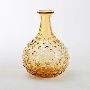 Glitzhome 8.86 Inch Handblown Round Hobnail Art Glass Vase, Amber