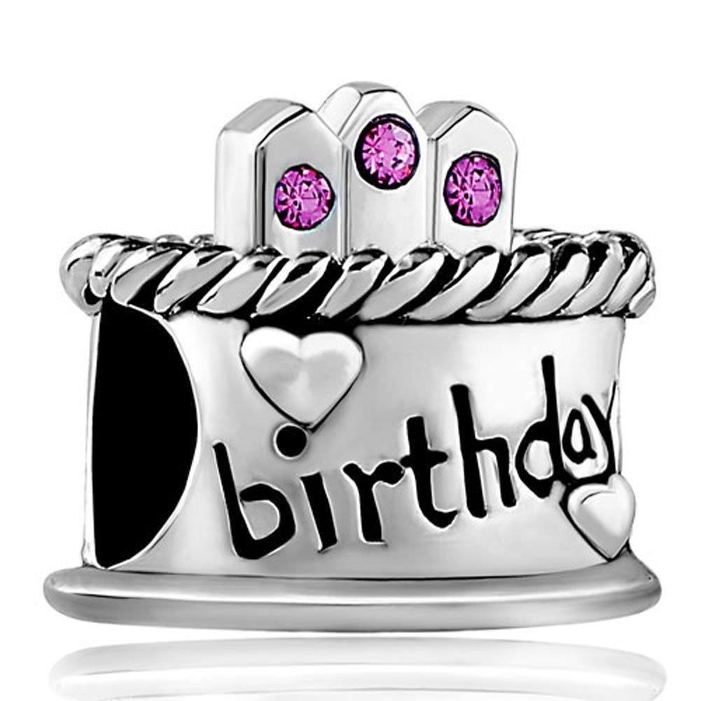 Bling Crystal Happy Birthday Cake Birthstone Bead Fits Pandora Charms Bracelet