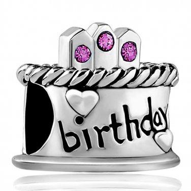 Remarkable Bling Crystal Happy Birthday Cake Birthstone Bead Fits Pandora Birthday Cards Printable Opercafe Filternl