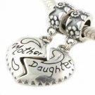 925 Sterling Silver Mother Daughter Love Heart Dangle Bead Fits Pandora Charms for Mom
