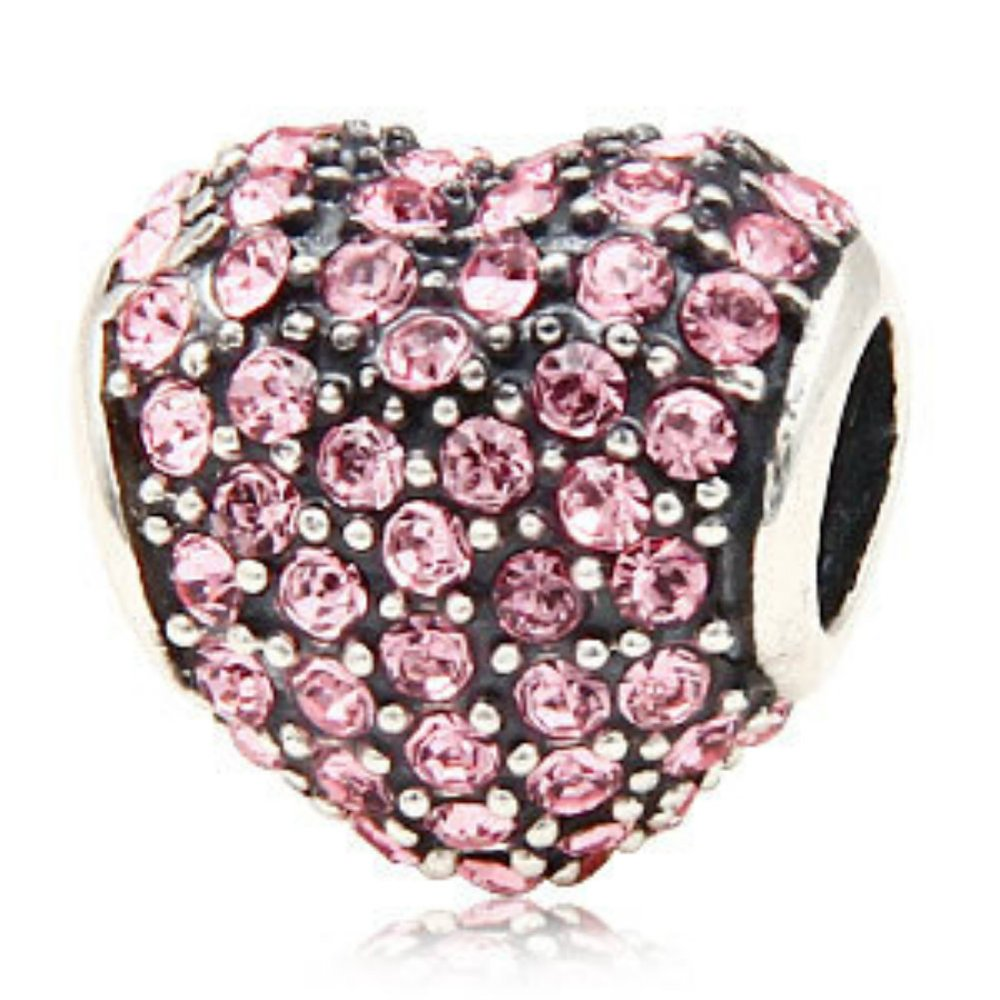 Heart with Paved Crystal Birthstone Authentic 925 Sterling Silver Bead Fits Pandora Charms Jewelry