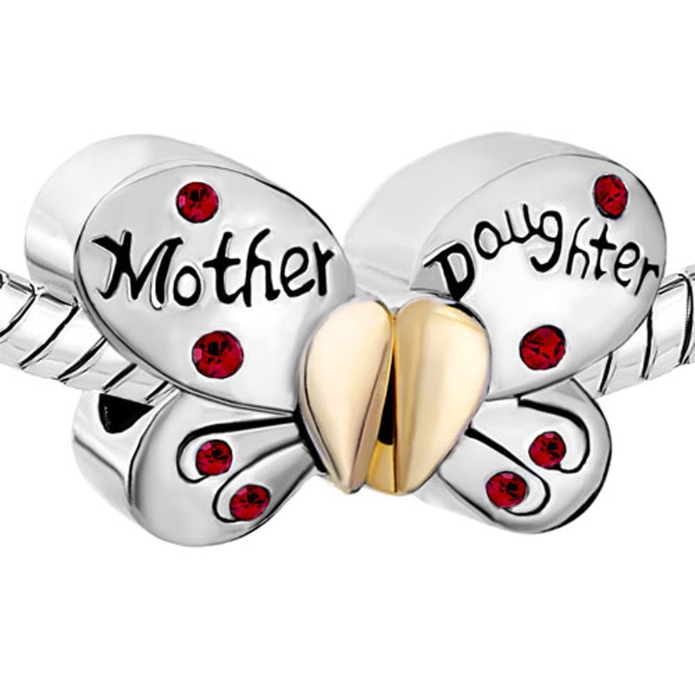 Authentic 925 Sterling Silver Mother Daughter Charms Separable Butterfly Bead Fits Pandora Charms