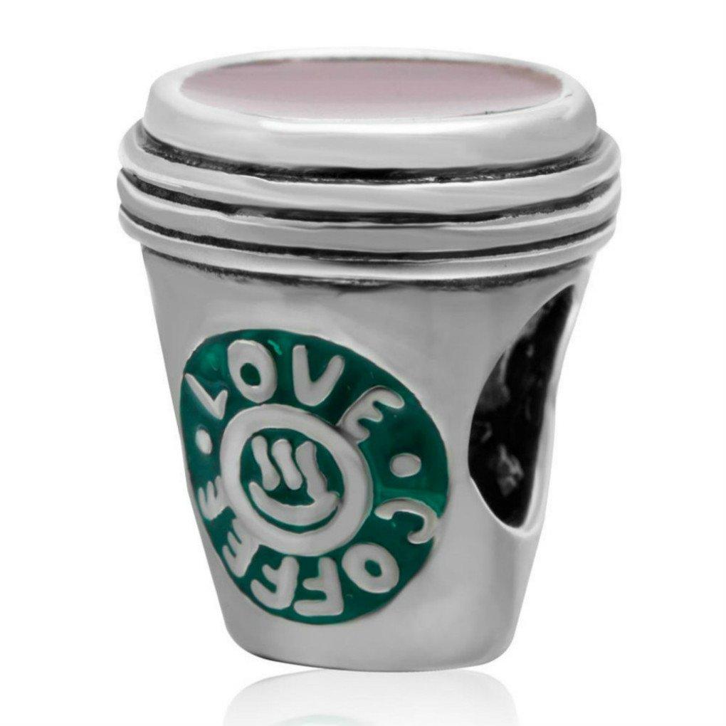 Love Coffee Charm 925 Sterling Silver Charm Bead