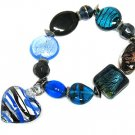 Murano Blue Glass heart Charm Bracelet