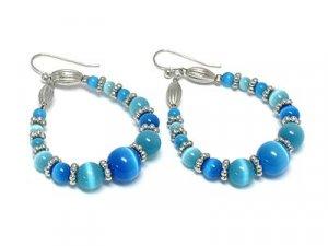 Beautiful Blue Cat eye Earrings