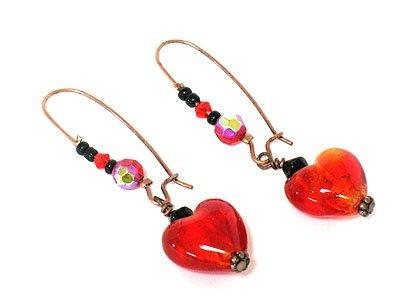 Red Dangling Heart Glass Earrings