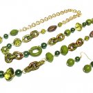 Beautiful Green Petina Bead Necklace and Earring Set
