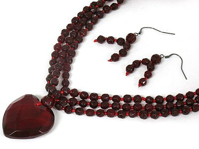 Gorgeous Red Glass Bead and Heart Triple Row Necklace and Earring Set