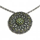 Green Crystal Filigree Necklace and Brooch