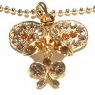 Beautiful Yellow Gold Plating Butterfly Charm Necklace