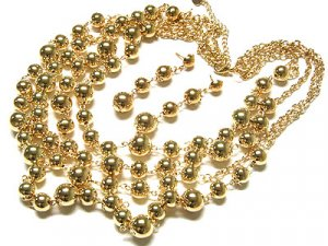 Multi Strand Gold Ball Necklace and earring Set