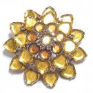 Beautiful Yellow Stone Flower Brooch