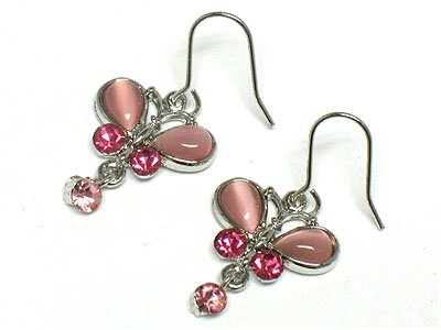 Cute Pink Crystal Cats eye Butterfly Earrings