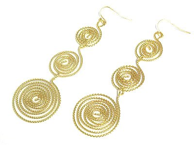 Classy Gold Metal Snake Coiled Earrings