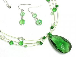 Beautiful Glass and Bead Teardrop Necklace and Earring set
