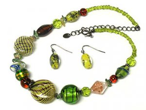 Beautiful Murano Glass Necklace and Earring set