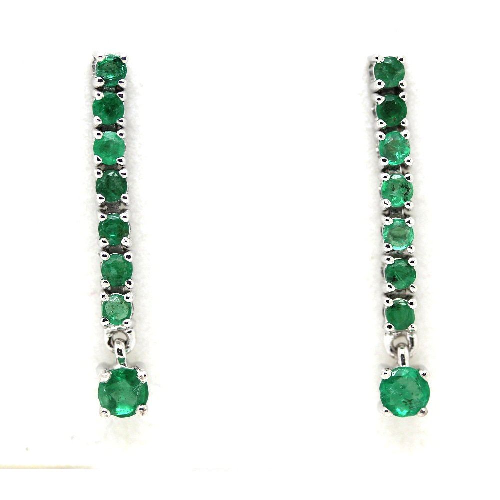 1.00Ct Natural Round Green Emerald Stone Dangle Drop Earrings, Silver