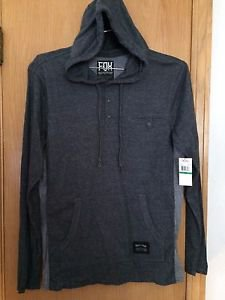 "Fox Racing - NEW  L/S Premium Henley Hoody - ""Blackout"" Dk Vintage Size L"