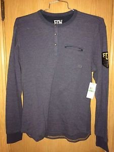 "Fox Racing - New - ""Last Call"" L/S Knit Henley - Heather Blue - Size L"