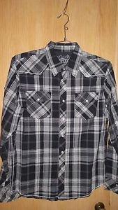 """Fox Racing """"Darryl"""" L/S Woven Shirt - Black Plaid Size L - NEW"""