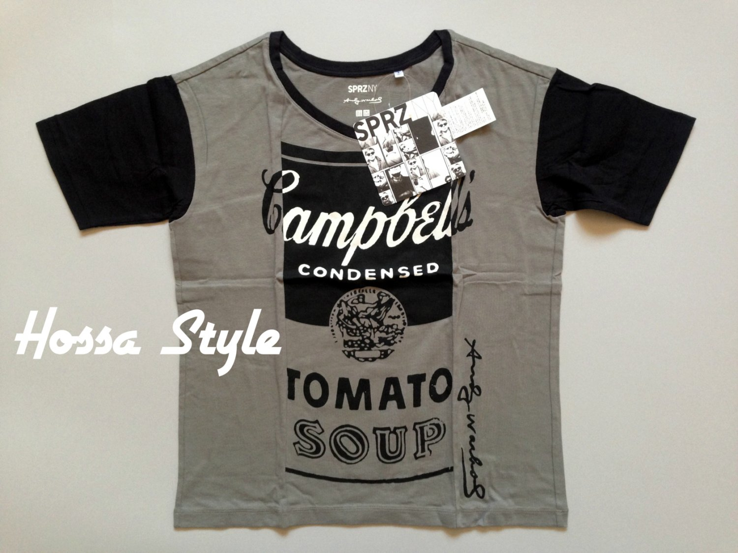 UNIQLO WOMEN SPRZ NY Andy Warhol Campbell Soup Print Short Sleeve T-Shirt Gray L(Japan)