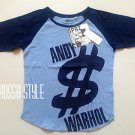 UNIQLO WOMEN SPRZ NY Andy Warhol Pop Art Dollar Print Short Sleeve T-Shirt Navy