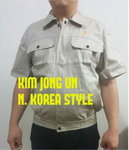 Kim Jong Un N.Korea Men Summer Short Sleeve Jacket Back Ventilation Ivory New M