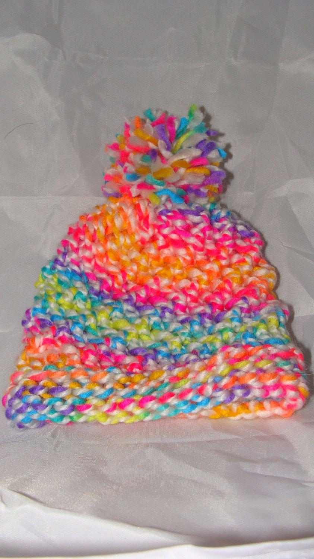 Kids Neon hat with pompom