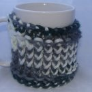 Grey, blue and white mug koozie