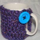Purple koozie with blue button