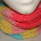 Kids soft pink, blue and white infinity scarf