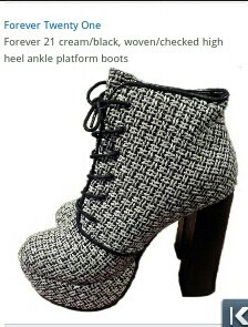 Brand New Boxed Forever 21 Woven Boots Cream & Black