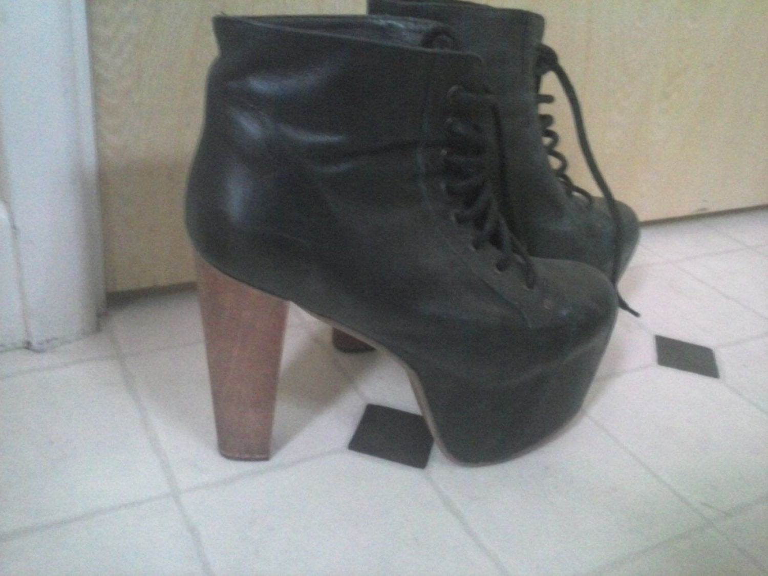 Jeffery Campbell Wooden Heel Lace Up Boots