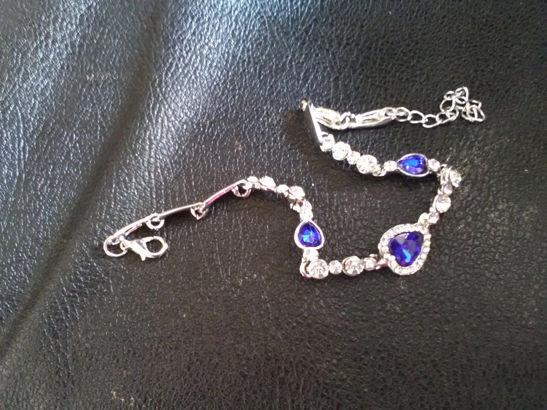 Ladies Silver Bracelet With Ocean Blue Stones