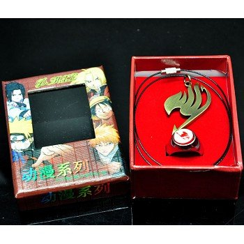 Fairy Tail anime ring+necklace a set